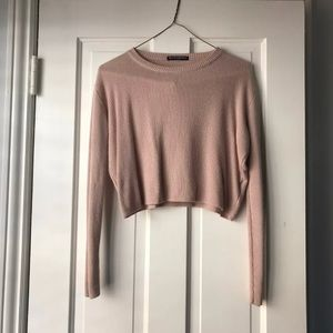 Cropped beige brandy Melville sweater/top